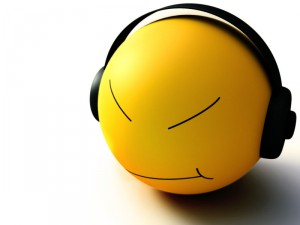 emoticon face wearing headphones