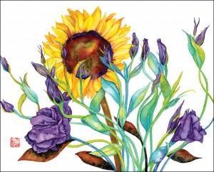 Lisianthus & Sunflowers